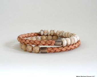 leather and semi precious stone wrap bracelet - adjustable
