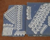 Small antique booklet with 11 page of vintage tatting lace sample - lacemaking tatting