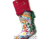 christmas stocking - vintage feedsack quilt