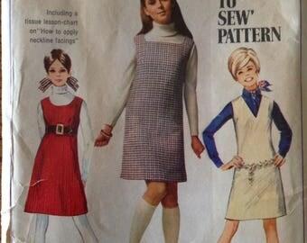 Vintage 60s Jumper Dress Pattern 1960s 36 bust Unused Simplicity 7778