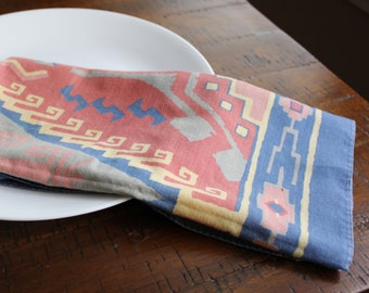 Aztec Print Napkins, Boho Home Decor, Vintage Napkin Set of 4