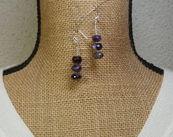 Natural Amethyst 36.00 Carats Faceted Gemstone, 925 Silver Earrings