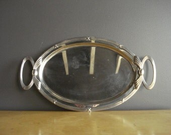Large Oval Silver Serving Tray - Tray with Handles - Vintage Silverplate Plant or Drink Tray