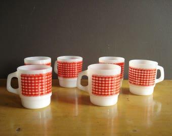 Red and White Gingham Mugs - FireKing Milkglass Handled Mugs with Red and White Check Pattern - Milk Glass Set of Six