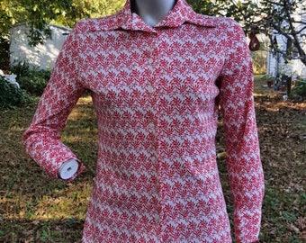 SALE 30% OFF Womens 70s Disco Shirt, Vintage Costume, 70s Costume, 70s Shirt by Jane Colby, Vintage Disco Shirt Size M