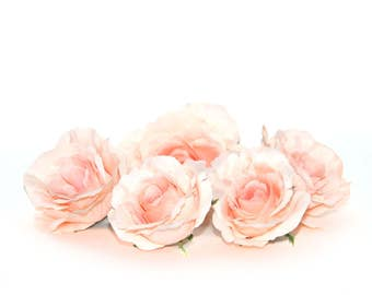 5 Peach Blush or Light Salmon Small Garden Roses -  Artificial Flowers, Silk Flowers