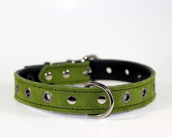 """Green Suede Leather Dog Collar - Leather Dog Collar - 1"""" Green Leather Collar With White Stitching - Ready To Ship - Fits 15-19"""" Necks"""