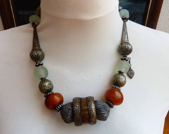 Africa Meets Asia Necklace, Tibetan Amber and Bone Ring, Ethiopian and Mali Beads , statement Necklace, Art to Wear