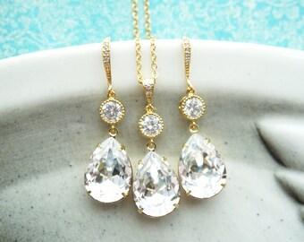 Elvina - Silver Swarovski Teardrop Crystal Earrings, Bridesmaid earrings, Bridal Wedding Jewelry, Swarovski Crystal Drops, white weddings