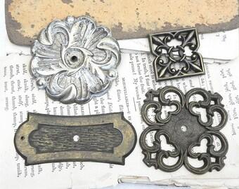 4 Salvaged Vintage Backplates for Drawer Cabinet Dresser Pulls Knobs Handles Repurpose DIY