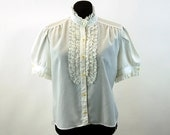 1960s blouse white blouse with ruffle lace bib high collar Size L