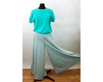 1970s bell bottom pants elephant bells boho pants plaid polyester elastic waist pastel Size M
