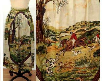 Horse themed skirt Herman Geist hunting scene pleated skirt 1980s Size 6 Medium