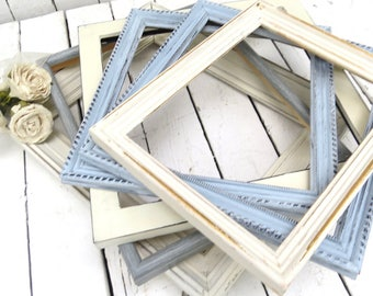 Blue and White  Frames, Frame Gallery, Farmhouse Decor, Old Frames, Cottage Chic Decor, Shabby Wall Decor, Hand Painted, Distressed Frames