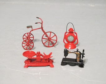 Vintage Dollhouse Miniature 4 Piece Set / Old Fashioned Red and Black Tricycle Lantern Balance Scale Sewing Machine Doll House Accessories
