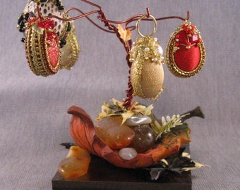 Fall Tree Egg Holder with five eggs