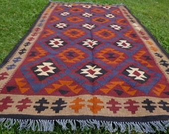 "8 ft  x 4 ft 9"" Handspun wool. Big Maimana hand woven Rug/Kilim. 243 x 148 cm Tapis"