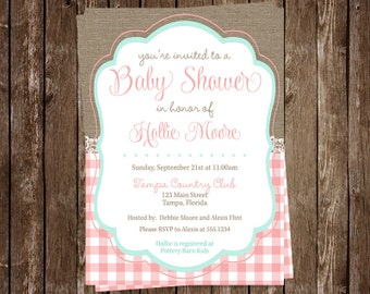Baby Shower Invitation, Burlap, Country, Chic, Kraft, Gingham, Pink, Girl, Shabby, Rustic, Teal,Customized, 10 Printed InvitesFree Shipping