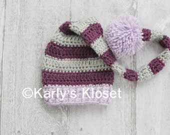 Newborn Elf Hat, Purple & Gray STripes, Baby Photo Props, Long Tail Elf Hat, Baby Girl Hat, Newborn Photo Props, Ready to Ship