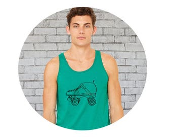 Unisex Roller Skate Shirt, Muscle Shirt, Work Out Tank, Roller Derby, Roller Skate, Gift for Skater, Derby Skater Gift, Kelly Green Top