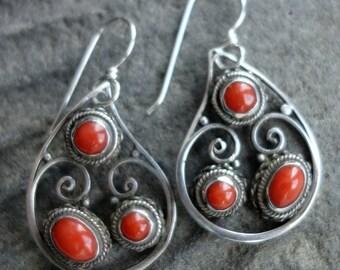 Coral Sterling Silver Vintage Earrings