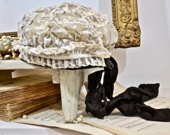 19th Century Lace Cap/Bonnet- Faded French Romance, French Shabby, French Brocante Finds,French Antiques