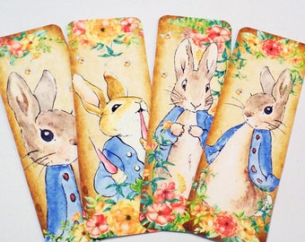 Bunny Bookmarks - Set of 4 - Bunny Tale - Book Accessory - Book Gift - Spring Bunny - Blue Coat Bunny - Carrot And Bunny - Easter Bookmarks