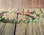 Copper and Green Wire Wrapped Bangle Bracelet Mother's Day Birthday Graduation Arthritis Tendonitis Adjustable Anniversary Valentine's Day