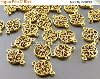 15% SALE 4 round flower filigree connectors, coin charms, modern jewelry / jewellery designs, craft supplies, findings 1013-MG (matte gold,
