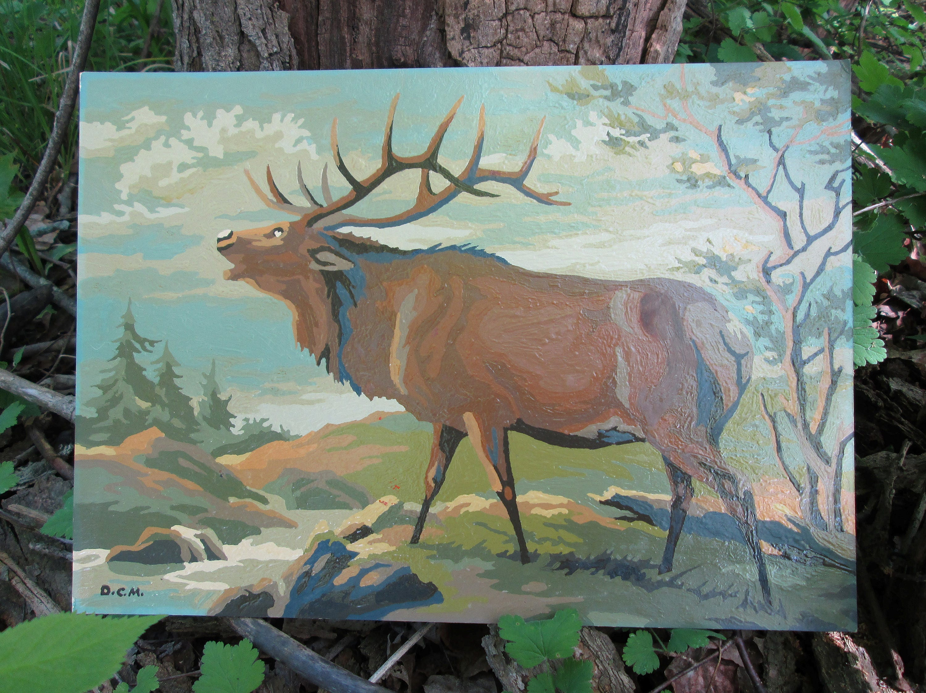 Craft master paint by number kits -  Number Elk 1966 Craft Master Mid Century Pbn Unframed Painting Zoom