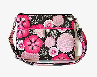 Medium Floral Fabric Crossbody Bag - Pink Taupe Print Messenger Purse - Zippered Cross Body Purse - Outside Pockets - Zip Shoulder Bag