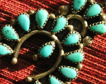 Small Zuni Sterling Silver Petit Point Turquoise Naja Pendant Necklace