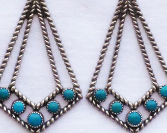 Southwest Harvey Era Sterling Silver Turquoise Kite Shaped Dangle Earrings