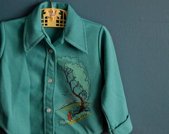 Vintage 1970s Green Toddler Shirt with Bunny and Tree Screen Print - Size 2T 3T