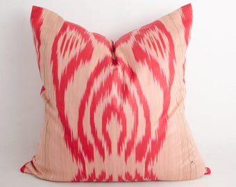 20x20 red ikat pillow cover, ikats, ikat cushion, uzbek ikat, sofa pillow, accent pillows, pillow, red pillow cushion, uzbek ikat, design