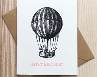Screen Printed Birthday Card with Vintage Hot Air Balloon