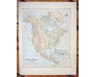 1887 north america original antique map united states of america