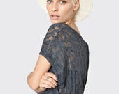 NEW summer 2017 - Dark gray cotton blouse special knitting - Gray gentle knitted loose T-shirt- sexy sleeveless top - summer sexy shirt