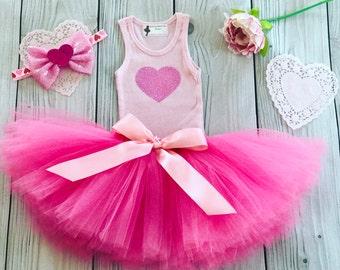 Sweet Pink Heart Tutu Dress for Baby Girls