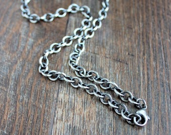 Mens Silver Cable Chain Necklace, Mens Oxidized Silver Chain Necklace