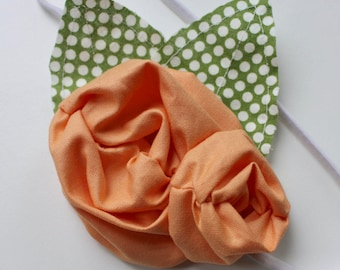 BLOSSOM - Shabby Chic Flower headband- Spring Easter - Peach - Made to Order Custom Order - Photo Prop - Wedding