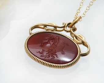 Carnelian Antique Fob Pendant | Oval Victorian Fob Ornament | Intaglio Ceres Harvest Goddess | Gold Filled Fob Necklace - 24 Inch Chain