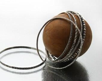 Set of 6 Antique Stacking Bangles | 1920s Sterling Silver Bangles Set | Victorian Revival Bracelet Set | Narrow Stacking Bangles 925 Silver