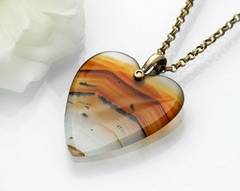 Vintage Montana Agate Heart Pendant | Large Agate Heart, Banded Agate Heart | Love Token - 18 Inch Vintage Chain | 12K Gold over Sterling