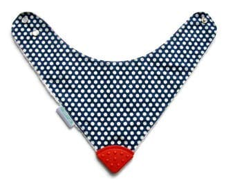 Baby Bandana Bib With  Sewn on Food Safe  Silicone Teether Corner, Dots on Navy,  Reversible  Minky Lined