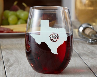 State Silhouette d20 Wine Glass - Choose Your State - Roll 20 - Etched Wine Glass - Gamer Gift - DnD Gift - Stemless Wine Glass - State Love