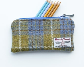 Padded HARRIS TWEED pouch, pencil case in mustard and steel grey/blue, great gift for men