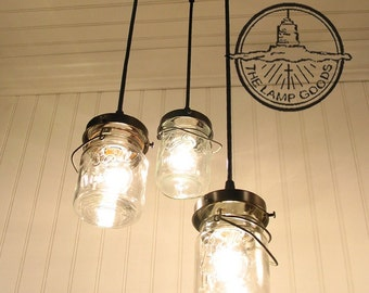 Mason Jar CHANDELIER Vintage Pints - Pendant Ceiling Light Flush Mount Lighting Lamp Farmhouse Rustic Kitchen Dining Track Fan by Lamp Goods