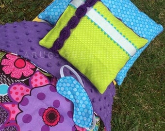 """Flower Power Bedding for 18"""" doll, American Girl, blanket, pillows, sleep mask, Julie funky colorful retro 70s, tropical beach Leah GOTY"""