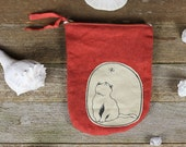 handmade tall plant dyed zipper pouch: cat and butterfly by kata golda